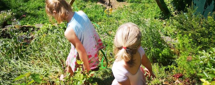 Zwei Kinder sind von hinten zu sehen, wie sie im Garten spielen.